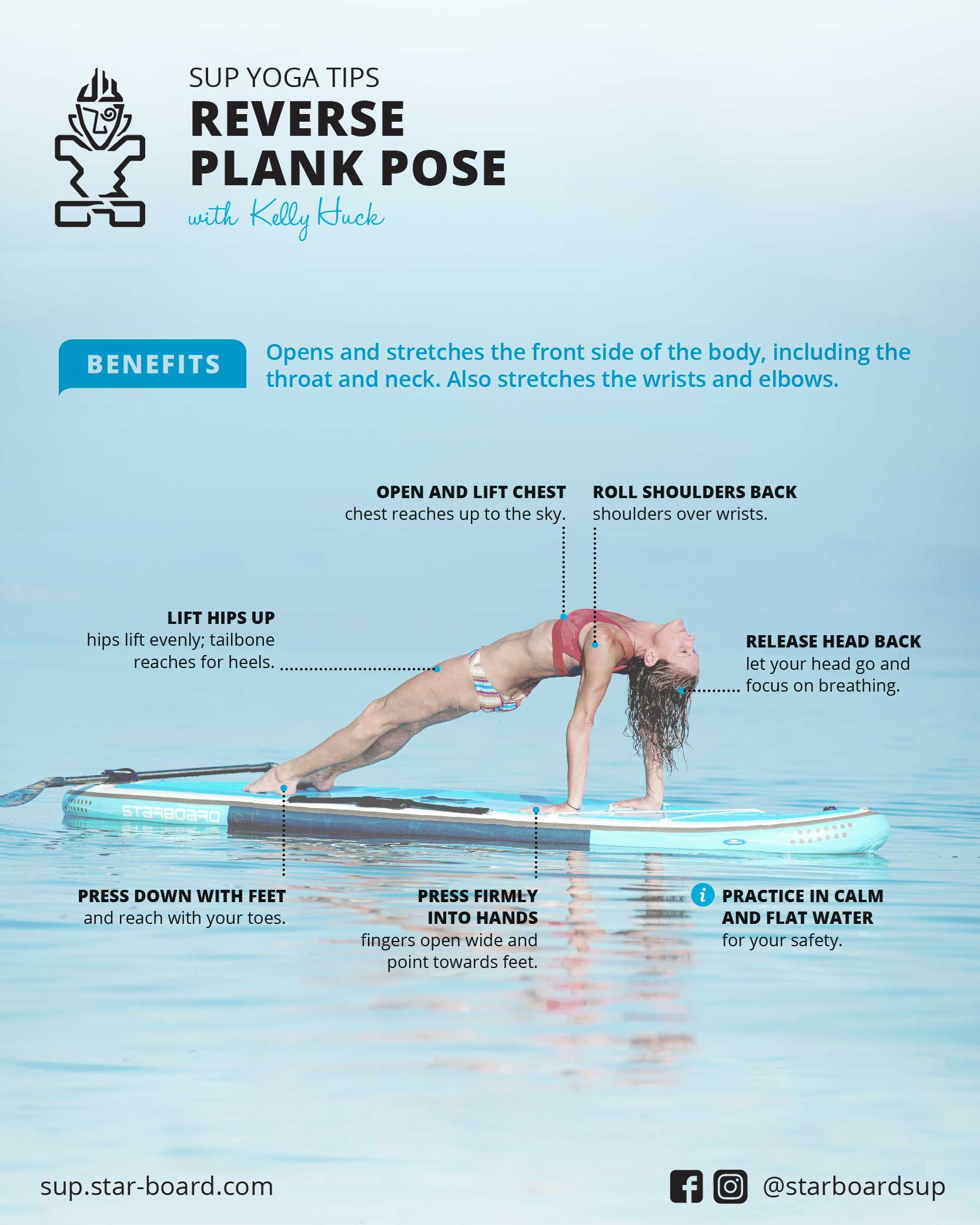 SUP Yoga Tips: How To Do a Reverse Plank Pose with Kelly Huck - Starboard